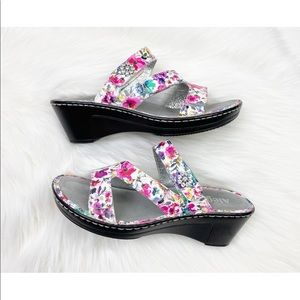 Alegria Loti Floral Leather Wedge Sandals